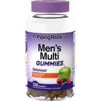 Piping Rock Men's Multivitamin / Multimineral 120 Gummies Natural Mixed Fruit Flavor