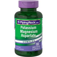 Piping Rock Potassium 180 mg Magnesium Aspartate 99 mg Complex 180 Quick Release Capsules Dietary Supplement
