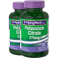 Piping Rock Potassium Citrate 275 mg 2 Bottles x 200 Quick Release Capsules Dietary Supplement