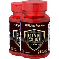 Piping Rock Red Wine Extract 1000 mg 2 Bottles x 90 Quick Release Capsules Dietary Supplement