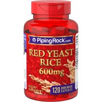 Piping Rock Red Yeast Rice 600 mg 120 Quick Release Capsules Dietary Supplement
