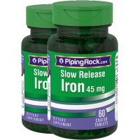 Piping Rock Slow Release Iron 45 mg 2 Bottles x 60 Coated Tablets Dietary Supplement