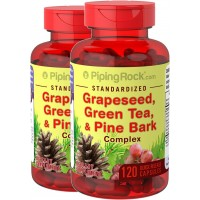 Piping Rock Standardized Grapeseed, Green Tea & Pine Bark Complex 2 Bottles x 120 Capsules
