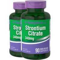 Piping Rock Strontium Citrate 340 mg 2 Bottles x 90 Quick Release Capsules Dietary Supplement