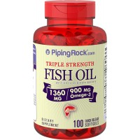 Piping Rock Triple Strength 1360 mg Fish Oil 950 mg Active Omega-3 100 Quick Release Softgels Purified To Eliminate Mercury