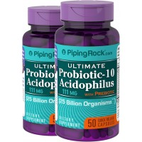 Piping Rock Ultimate Probiotic-10 Acidophilus with Prebiotics 111 mg 25 Billion Organisms 2 Bottles x 50 Quick Release Capsules Dietary Supplement