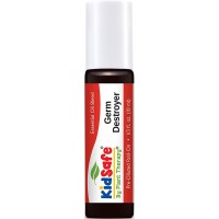 Plant Therapy KidSafe Germ Destroyer Synergy Pre-Diluted Essential Oil Roll-On. Ready to use! Blend of: Spruce, Marjoram, Lavender, Rosalina and Lemon in Fractionated Coconut Oil. 10 ml (1/3 oz).