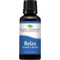 Plant Therapy Relax Synergy (Mental Relaxation) Essential Oil Blend. Blend of: Lavender, Marjoram, Patchouli, Mandarin, Geranium and Chamomile. 30 ml (1 oz).