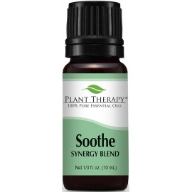 Plant Therapy Soothe Synergy Essential Oil Blend. 100% Pure, Undiluted, Therapeutic Grade. Blend of: Lavender, Bergamot, Geranium and Roman Chamomile. 10 ml (1/3 oz).