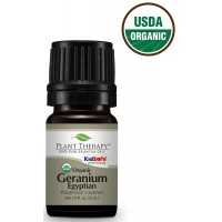 Plant Therapy USDA Certified Organic Geranium Egyptian Essential Oil. 100% Pure, Undiluted, Therapeutic Grade. 5 ml (1/6 oz).