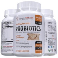 Probiotics Supplement 50 Billion CFU 11 Strains Digestive and Immune Support Delivers 15x More Live Cultures, Acid Resistant Time Release Capsules Probiotic and Prebiotic Patented Ingredients.