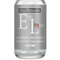 Pure, Natural and Organic EYE LOVE Eye Gel 1oz. Plant Based Silk Protein Amino Acid, MSM, Cucumber. Reduces Puffiness Dark Circles Wrinkles. Anti-Aging Vegan Made in the US