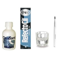 REFECTOCIL COLOR KIT- Blue Black Cream Hair Dye 1/2oz + Liquid Oxidant 3% 1.69oz + Mixing Brush +  Mixing Dish