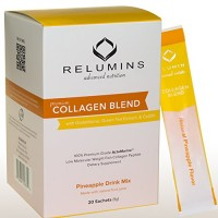 Relumins Premium Collagen Blend Powdered Drink Mix - 100% Premium-Grade ActuMarine Collagen with Glutathione, Green Tea Extract and CoQ10 (Pineapple)