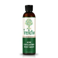 TreeActiv Acne Exfoliating Body Wash | Natural Treatment for Back, Chest, Shoulder and Butt Acne Removal | Men, Women, Teens | Sulfur | Calamine | Castile Soap | Tea Tree Oil | Skin Care | 8 fl oz