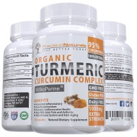 Turmeric Capsules Bioperine (Black Pepper Extract) Maximum Absorption 1000mg/serving Advanced Pain Relief and Joint Support 95% Standardized Curcuminoids 120 Count Made With Organic Turmeric