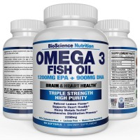 #1 Omega 3 Fish Oil 2250mg | HIGHEST EPA 1200MG + HIGHEST DHA 900MG Triple Strength Capsules | 60 Pills | Essential Fatty Acid Combination Vitamin Nutritional Supplements | BioScience Nutrition