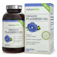 NatureWise Organic Non-GMO Flaxseed Oil, #1 Omega-3 Flax Seed Oil Softgels, 1000 mg, 240 count