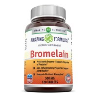 Amazing Nutrition Bromelain Supplement - Best Proteolytic Digestive Enzymes Supplements - 500mg Tablets for Healthy Digestion, Anti- Inflammatory Support & More - 120 Enzyme Tablets Per Bottle