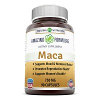 Amazing Nutrition Maca Root Supplement * High Concentrate, Pure Maca (Lepidium Meyenii) Root 6: 1 Extract * 750mg 90 Capsules