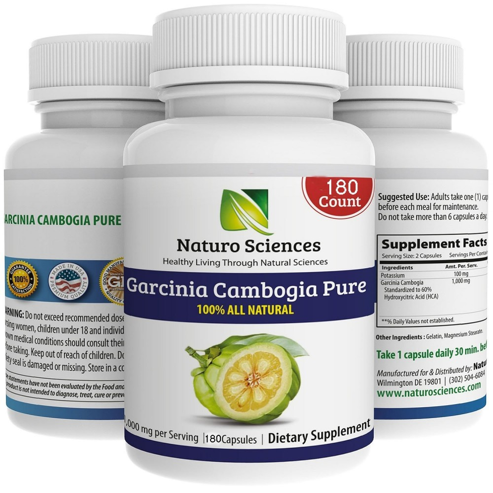 Buy herbal supplements 1000 count capsules - Garcinia Cambogia Pure Extract Big Size By Naturo Sciences Best Quality All Natural Health Supplement Live For Your Body 180 Count 1000mg Per Serving
