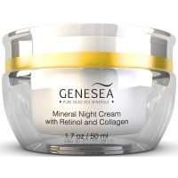Genesea Hydrating Mineral Night Cream with 3% Retinol & Collagen - Featuring Time-released Amino Acids & Antioxidants Technology - Premium Dead Sea Cosmetic Product - Paraben Free