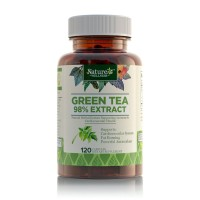 Green Tea Extract Supplement by Nature's Wellness, 120-Count   Max Potency EGCG + Polyphenol Catechins, Ultra Low Caffeine   All-Natural Antioxidants, Supports Healthy Weight Loss and Cardio Health