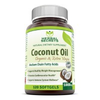 Herbal Secrets Organic Extra Virgin Coconut Oil Softgels 1000mg 120 softgels