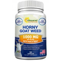 Horny Goat Weed Extract with Maca Root - Natural Libido Booster Performance Supplement for Men & Women - 1000mg Epimedium & 10mg Icariins for Increased Focus, Desire & Energy - 120 Capsule Pills