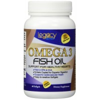 Legacy Nutra Fish Oil OMEGA 3 Supplements with DHA + EPA Fatty Acids ★ Triple Strength Fish Oil Supplements with Phramaceutical Grade Fish Oil ★ Enteric Coated, Easy To Swallow, Totally Burpless DHA Omega 3 with NO Nasty Smell or Aftertaste
