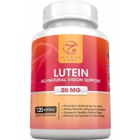 Lutein 20mg Vitamin Supplement - Provides All-Natural Benefits for Eyes - For Healthy Retinal Tissue and Vision - Reduce Eye Strain and Fatigue - 120 Count Softgels - Zenwise Labs