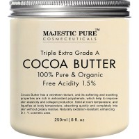 Majestic Pure Cocoa Butter, Organic Raw Unrefined Premium Grade, 8 oz