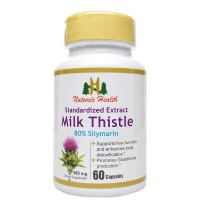 Milk Thistle Seed Standardized Extract, 80% Silymarin, Liver Cleanse & Detox Supplement, Naturally Promotes Glutathione Production, Silybum Marianum, 580 Mg, 60 Capsules, Nature's Health