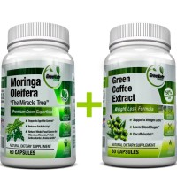 Moringa Oleifera + Green Coffee Bean Extract- Weight Loss, Healthy Heart and Blood Sugar Support Bundle - 120 Count + Free Vitamin D3 as a Bonus★ (see instructions below)