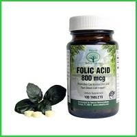 Natural Nutra Folic Acid Supplement, 100 Tablets, 800 mcg