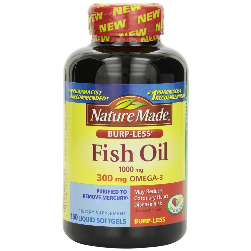 Buy nature made burp less fish oil 1000 mg 300 mg omega for Fish with omega 3