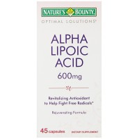 Nature's Bounty Optimal Solutions Alpha Lipoic Acid Capsules, 600 mg, 45 Count