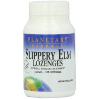 Planetary Herbals Slippery Elm Lozenges, Strawberry, 100 Count