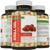 Pure Krill Oil Softgels 500 Mg - Rich in Omega-3 Fatty Acids - EPA & DHA - Natural Source of Astaxanthin - Supports a Healthy Heart - Improved Cardiovascular Health - Anti-aging - Lower Cholesterol Naturally - Reduce PMS Symptoms - 30 Softgels