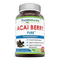 Pure Naturals, Acai Berry, 600mg, 120 Capsules Per Bottle -- 100% Pure High Potency -- Supports Fat Metabolism -- Manufactured in a USA Based GMP Certified Facility and Third Party Tested for Purity. Guaranteed!!