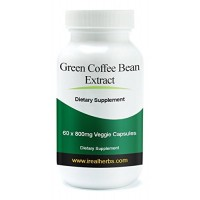 Real Herbs ● Green Coffee Bean Extract Supplement ● 60 X 800mg Vegetable Capsules - Standardized to 50% Chlorogenic Acid - Aids in Weight Loss