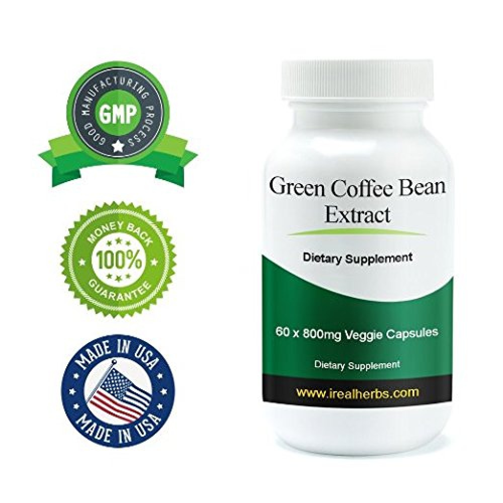 Buy Real Herbs Green Coffee Bean Extract Supplement 60 X 800mg Capsule Pure Arabica Organic Caps Vegetable Capsules Standardized