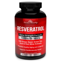 Resveratrol Supplement - 1400mg Extra Strength Formula with Grape Seed Extract, Green Tea Extract, Red Wine Extract- 60 veggie capsules - Made in USA