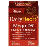 Schiff Mega-D3 Vitamin D3 5000 IU - with Resveratrol and Red Wine Extract - Daily Heart Health Supplement, 90 count