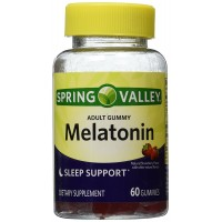 Spring Valley Adult Gummy Melatoning 5mg - Natural Strawberry Flavor - Single Bottle with 60 Gummies