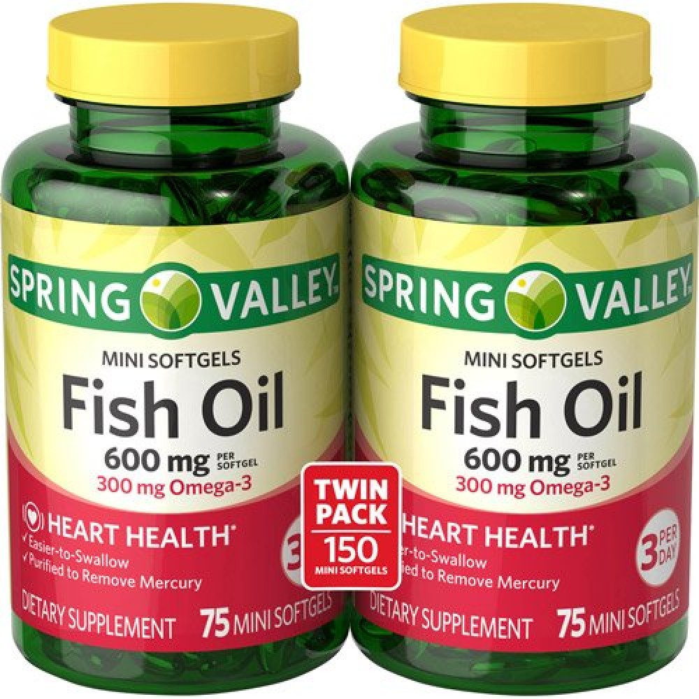 Buy spring valley all natural fish oil 600 mg 300 mg for Spring valley fish oil review