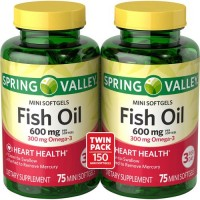 Spring Valley All Natural Fish Oil 600 mg, 300 mg Omega-3, Twin Pack, 2 x 75 Mini Softgels