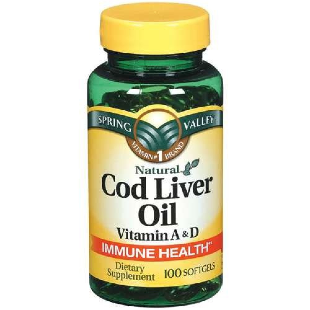 Buy Spring Valley Cod Liver Oil With Vitamin A D 100 Softgels Nordic Arctic Lemon