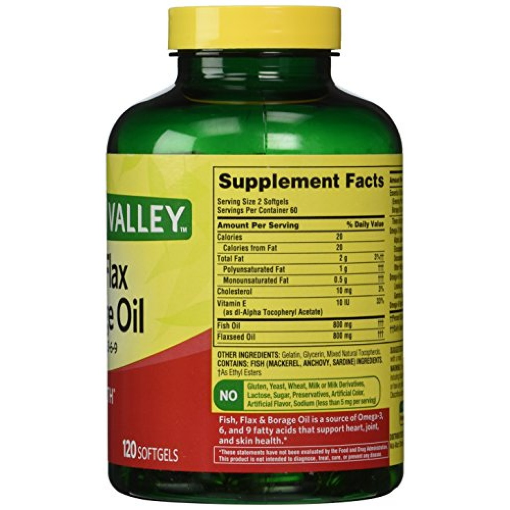 Buy spring valley fish flaxseed borage oil omega 3 6 for Flaxseed or fish oil