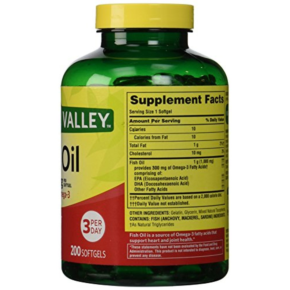 Buy spring valley fish oil omega 3 1000 mg 400 for Spring valley fish oil review